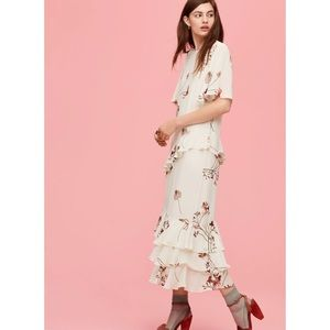 LITTLE MOON | Teline Long Midi Floral Ruffle Dress